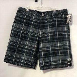 NWT Hurley Board shorts Blk plaid  38/XL